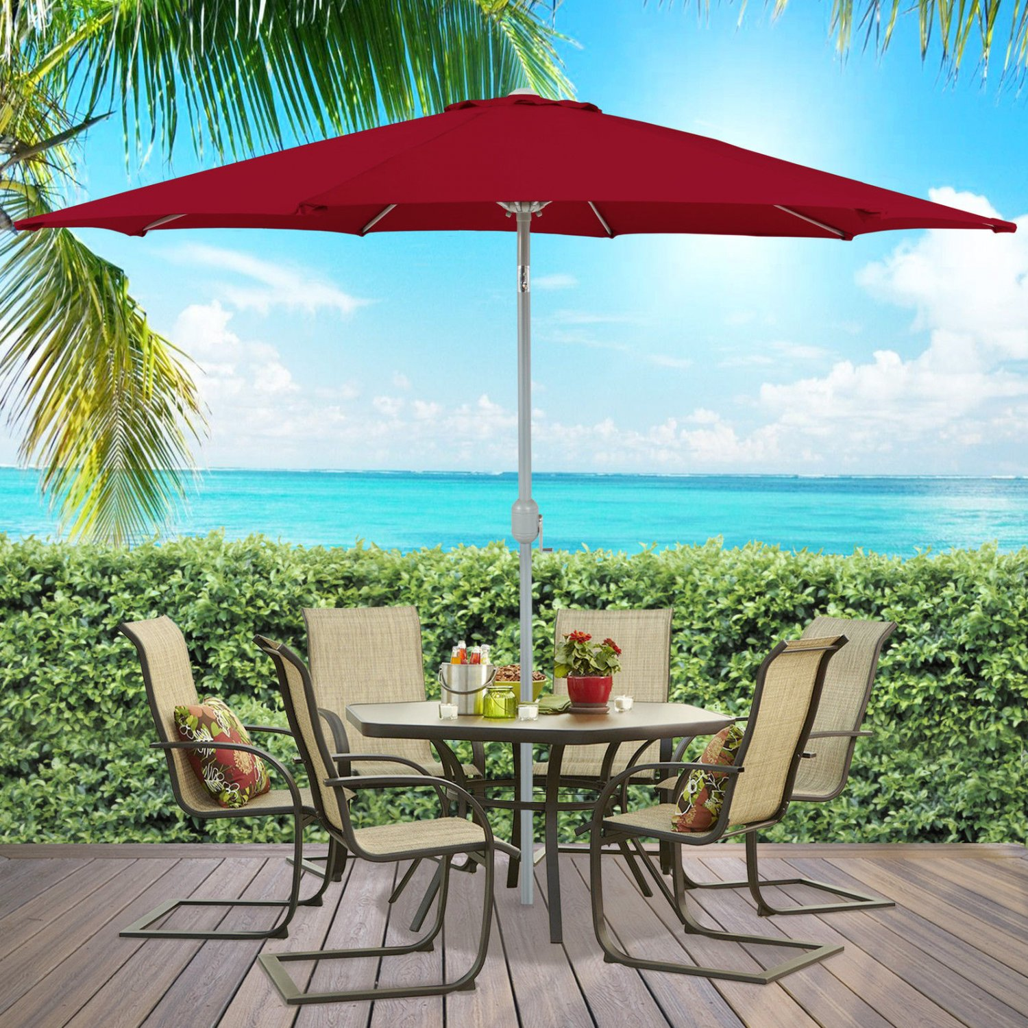 Patio Umbrella 9' Aluminum Patio Market Umbrella Tilt W/ Crank Outdoor Red