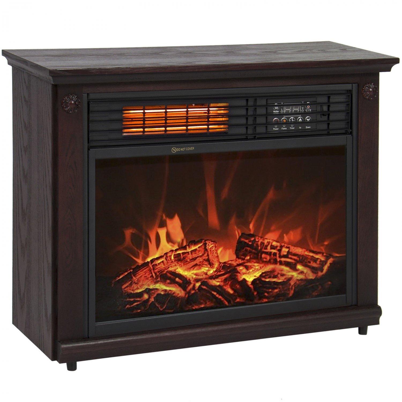 Large Room Infrared Quartz Electric Fireplace Heater Dark Walnut Finish Remote