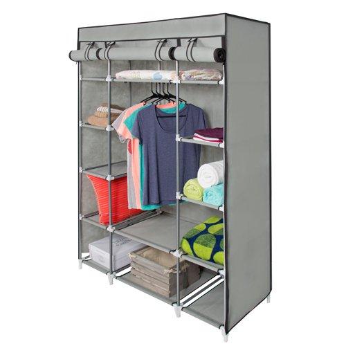 53� Portable Closet Storage Organizer Wardrobe Clothes Rack With Shelves Grey