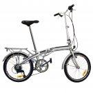 "Folding Bike 20"" Shimano 6 Speed Bike Fold Storage Silver College School Sports"