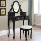 New Vanity Table Jewelry Makeup Desk Bench Drawer Black Solid Wood Construction