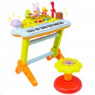Kids Musical Electronic Keyboard Organ Microphone, Stool, Teaching Light up Keys