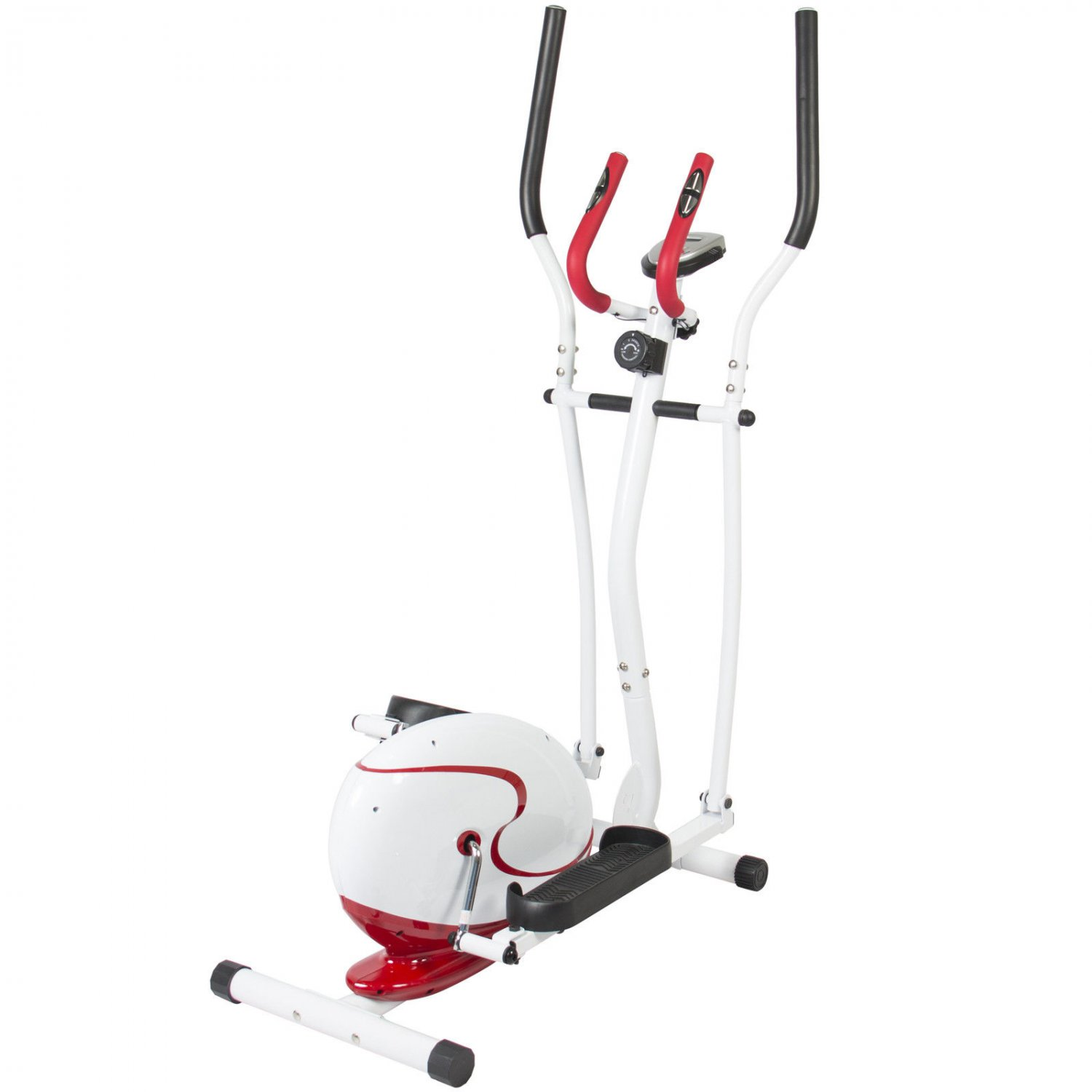 Red Magnetic Elliptical Trainer Fitness Space Saver Machine Cardio Workout Gym