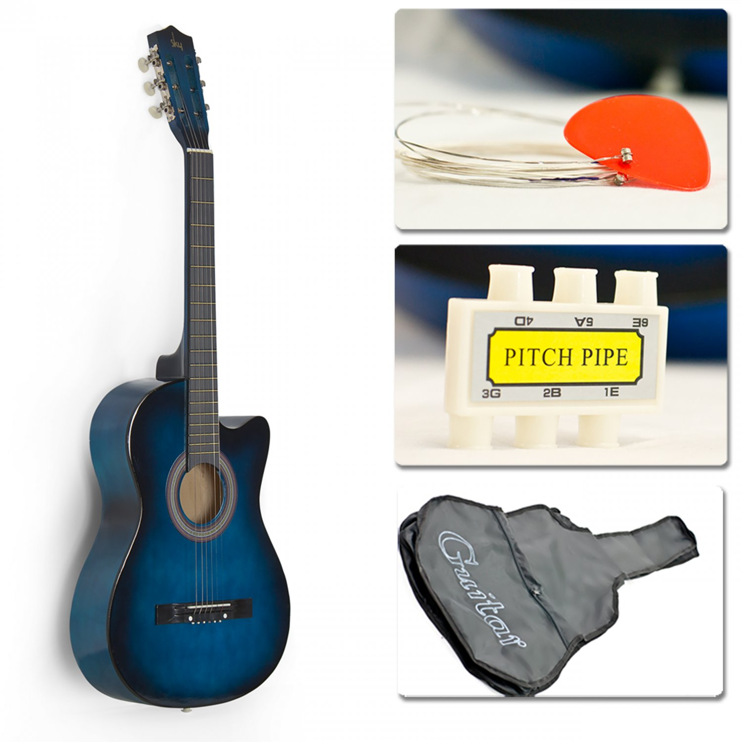 Blue Acoustic Guitar Cutaway Design w/ Guitar Case, Strap, Tuner and Pick