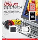 SanDisk 32GB 32 GB Ultra Fit Micro USB 3.0 Flash Pen Drive SDCZ43-032G 130MB