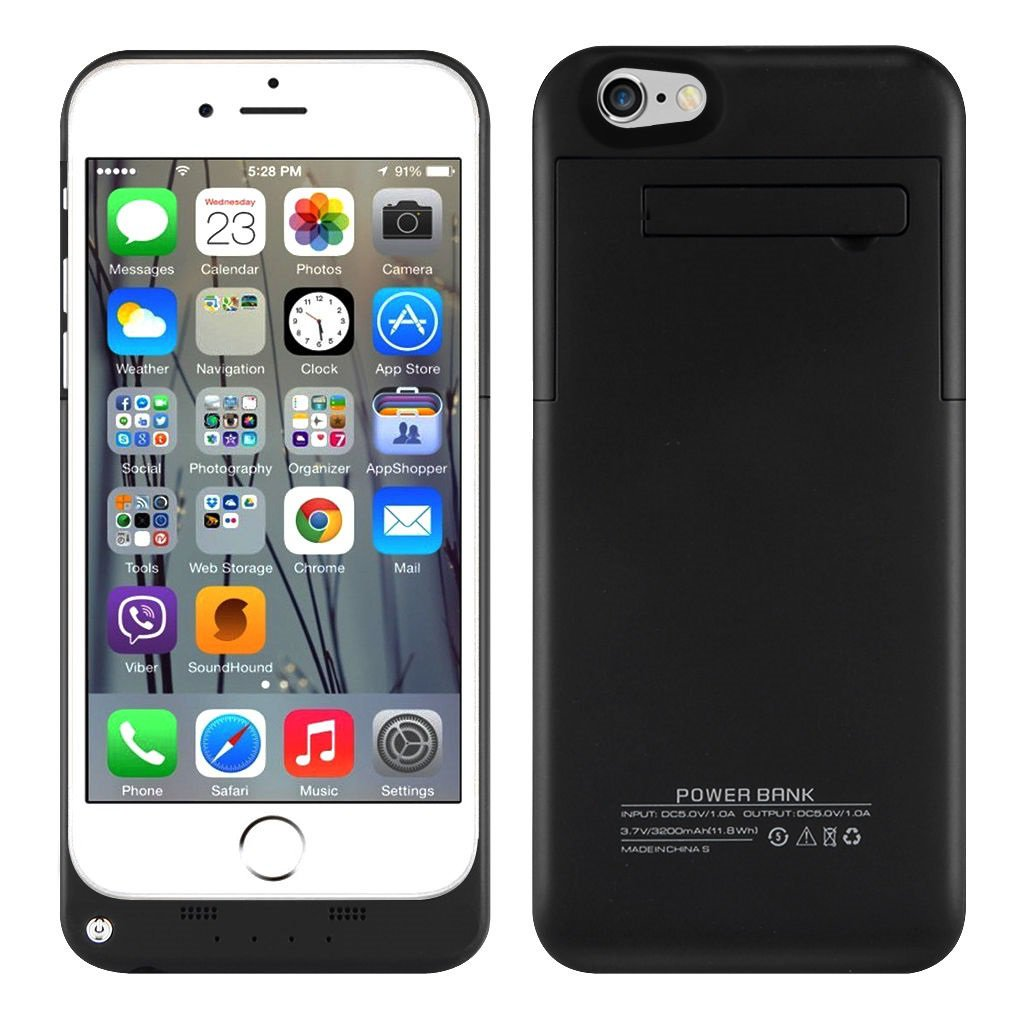 """3200mAh External Battery Backup Power Bank Charger Case for iPhone 6 4.7"""" Black"""