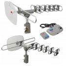 360 Rotation Outdoor Digital Amplified Antenna TV DTV VHF HDTV UHF HD FM Rotor