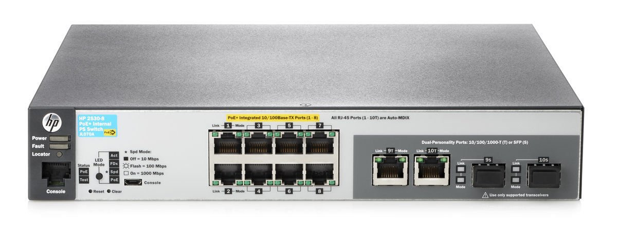 Brand New HP Procurve 2530-8-PoE+ 8-Port 10/100 PoE+ Network Switch (JL070A#ABA)