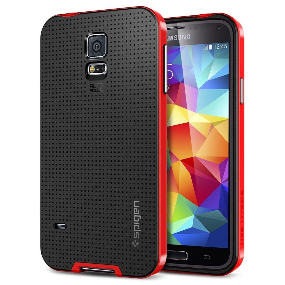 Spigen GALAXY S5 Case [[ NEO HYBRID ]] Color Series - Slim Grip Design in Dante Red