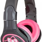 Hello Kitty 35509 blk Headphones with In Line Mic Black New