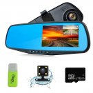 "Dash Cam 1080P Full HD 4.3"" LCD Rearview Mirror Car Video Recorder Dual Lens Car"