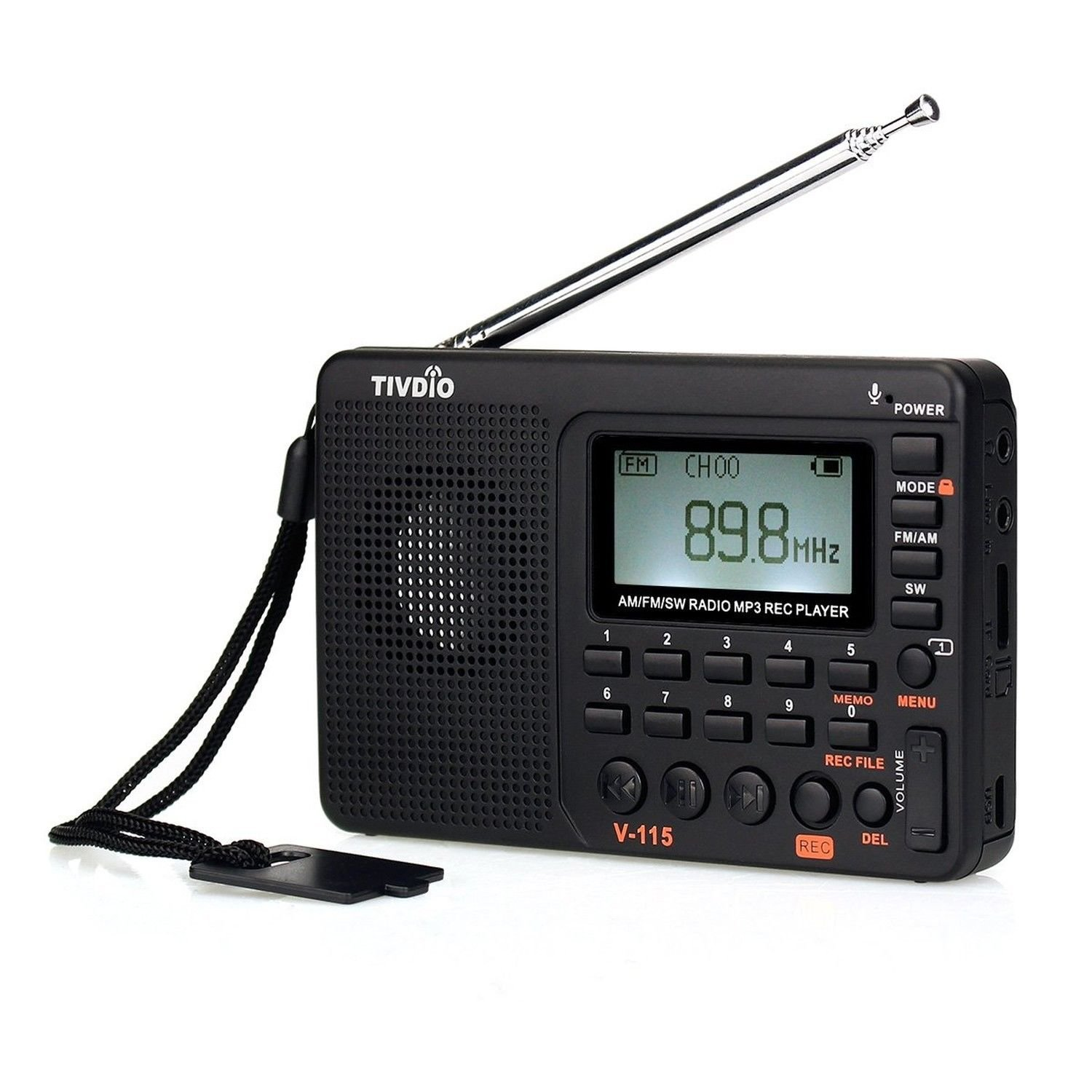 TIVDIO V-115 Portable Shortwave Transistor Radio AM/FM Stereo with MP3 Player