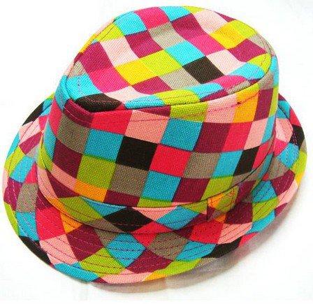 Chidren's Plaid Boys Fedoras baby cap dicer top fedora hat #4