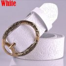 Women's Vintage Belt Leather Belt White