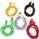Fashion Design 1M Nylon Fabric Braided 8 Pin USB Cable for iPhone 5 / 5C / 5S