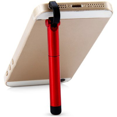 Practical Earphone Plug Anti Dust Cell Phone Stand Holder Touch Pen Ball-point Pen (Random Color)