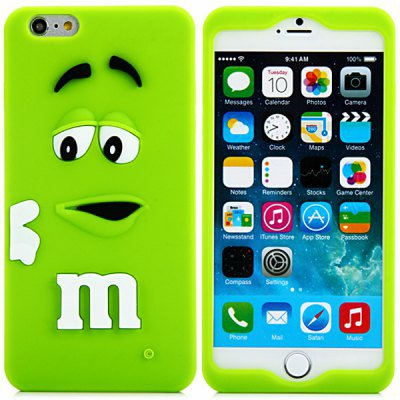 3D Cartoon M Chocolate Bean Pattern Silicone Case Cover for iPhone 6 - 4.7 inches(NR2)
