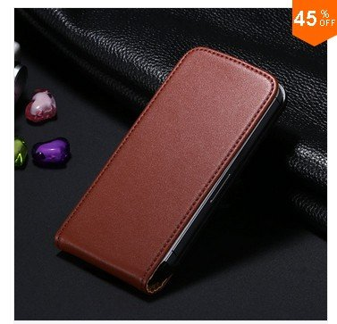 High-End Design Vertical Fip Genuine Leather Case for iPhone 4 4S 4g   (color  2