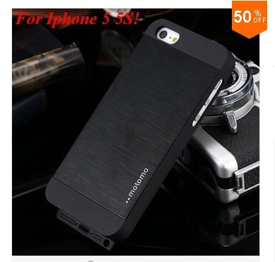Deluxe Metal+Black TPU Brush Case For Iphone 5 5s 5g  ( color 1