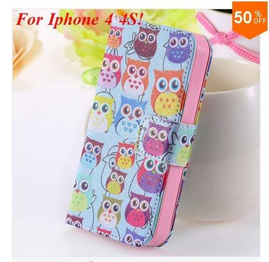 Cute Animal Structure! Flip Wallet Case for iPhone  4 4S 4G   (color  5