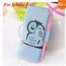 Cute Animal Structure! Flip Wallet Case for iPhone  4 4S 4G   (color  8