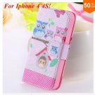 Cute Animal Structure! Flip Wallet Case for iPhone  4 4S 4G   (color  9