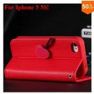 Cherry Heart Stand Case for iPhone 5 5S 5G  PU Leather Wallet   (color 1