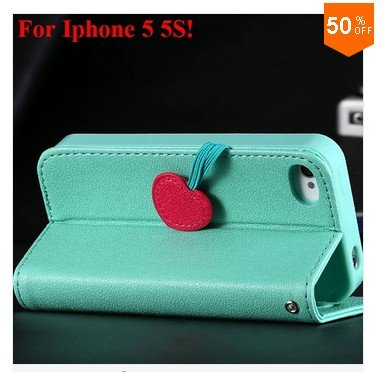 Cherry Heart Stand Case for iPhone 5 5S 5G  PU Leather Wallet   (color 3