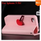 Cherry Heart Stand Case for iPhone 5 5S 5G  PU Leather Wallet   (color 4