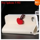 Cherry Heart Stand Case for iPhone 5 5S 5G  PU Leather Wallet   (color 5