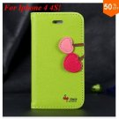 Cherry Heart Stand Case for iPhone 4 4s 4g  PU Leather Wallet   (color 1