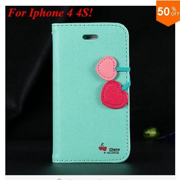 Cherry Heart Stand Case for iPhone 4 4s 4g  PU Leather Wallet   (color 4