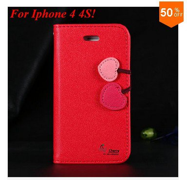 Cherry Heart Stand Case for iPhone 4 4s 4g  PU Leather Wallet   (color 5