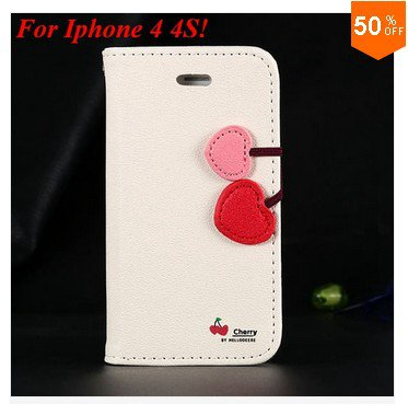 Cherry Heart Stand Case for iPhone 4 4s 4g  PU Leather Wallet   (color 6