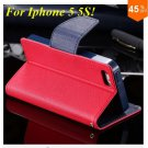 Wallet Book Style Case For Iphone 5 5s 5g ( color 5