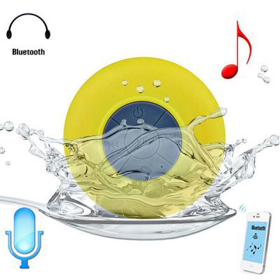 Water Resistant Bluetooth Shower Speaker with Sucker (yellow )