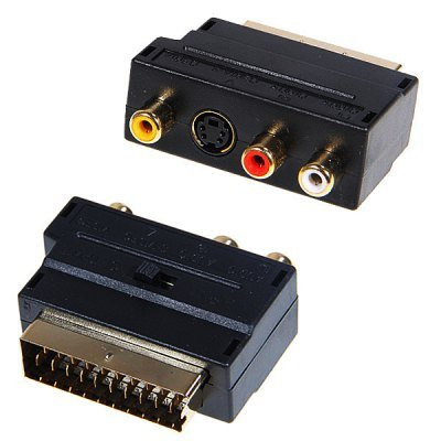 Compact 21 Pin Scart to 3RCA + S-Video M-F Adapter Connector