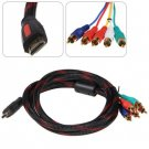 5 Feet PVC Jacket Gold-plated Connector HDMI to 5 RCA Converter Cable
