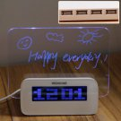 New Arrival Multifunction 4 Port USB Blue LED Hub with Alarm Clock and Memo Board