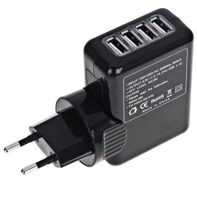 EU Plug 4 USB Ports AC Adaptor Wall Socket Power Charger/Adapter (Black)