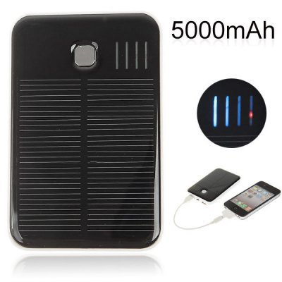 5000mAh Solar Charger External Power Bank for iPhone 5 / 5s iPad Samsung S4 i9500 i9505