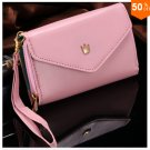 Pouch Wallet PU Leather Case for iphone 4s, 5s, 6 4.7inch, 5C, for Samsung Galaxy S3 S4 S5 (pink