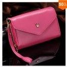 Pouch Wallet PU Leather Case for iphone 4s, 5s, 6 4.7inch, 5C, for Samsung Galaxy S3 S4 S5 (hot pink