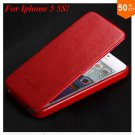 Luxury Retro Crazy Horse Cover for iphone 5 5S 5g Flip PU Leather Housing Vintage   (RED