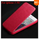 Luxury Retro Crazy Horse Cover for iphone 5 5S 5g Flip PU Leather Housing Vintage   (HOT PINK