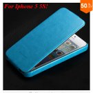 Luxury Retro Crazy Horse Cover for iphone 5 5S 5g Flip PU Leather Housing Vintage   (LIGHT BLUE