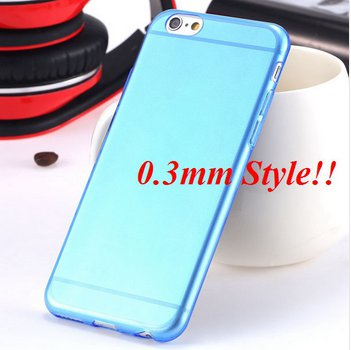 Super Flexible Clear Case For Iphone 6 4.7inch  ( COLOR THIN BLUE