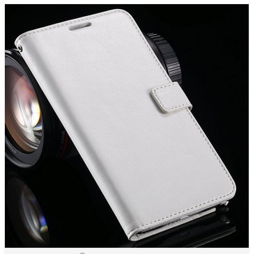 Crazy Horse Grain Full Wallet Case For Samsung Galaxy Note 4 IV 5.7''( COLOR WHITE