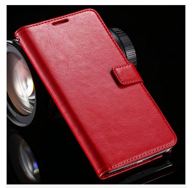 Crazy Horse Grain Full Wallet Case For Samsung Galaxy Note 4 IV 5.7''( COLOR  RED