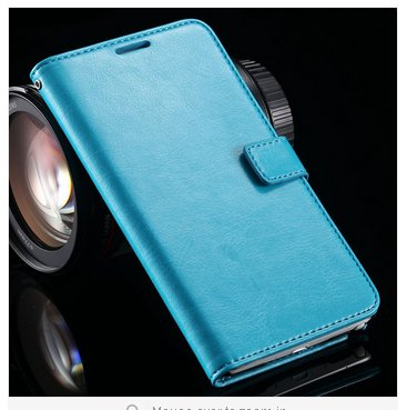 Crazy Horse Grain Full Wallet Case For Samsung Galaxy Note 4 IV 5.7''( COLOR  BLUE